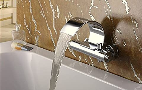 Luxury Brass Chromed Double handle single hole faucet for bathroom waterfall faucet