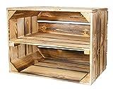 8er-Set kleiner geflammter Kisten mit Mittelbrett als Schuh- oder Bücherregal/ Holzkiste