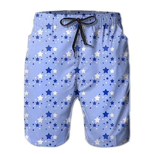 Navy Blue Classic Shorts (Stars White Blue Sky Navy Herren Shorts Lässige Classic Fit Kordelzug Sommer Strand Shorts Beachwear Sommerurlaub Badehose)