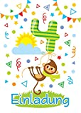 JuNa-Experten 12 Einladungskarten 4. Kindergeburtstag Junge Mädchen Tiere vierte Geburtstag Geburtstagseinladungen Einladungen Geburtstagsparty Kartenset AFFE