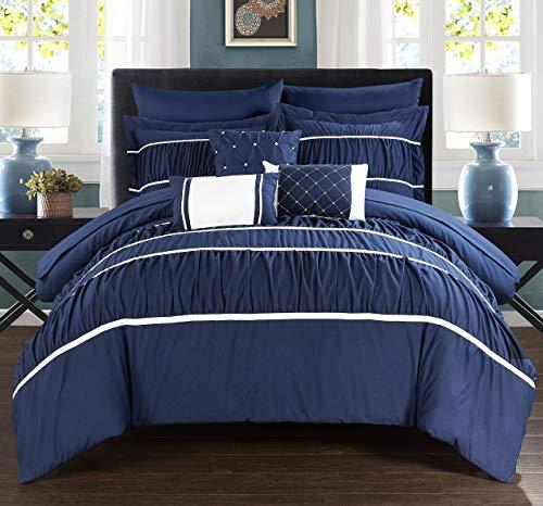 Chic Home 10Stück Cheryl Bundfaltenhose & Rüschen Bett in Einem Beutel Tröster Set mit Tabelle Set, Queen, Marineblau -
