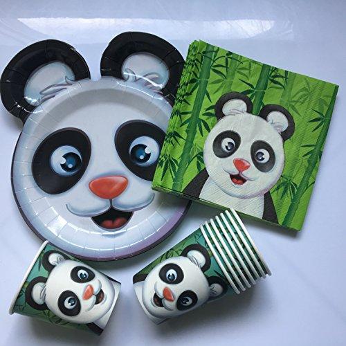 37-teiliges Partyset * Panda BÄR * mit Teller + Becher + Servietten + Deko // Kindergeburtstag Kinder Set Partygeschirr Geburtstag Party Mottoparty Motto Luftballons Pandabär Bear