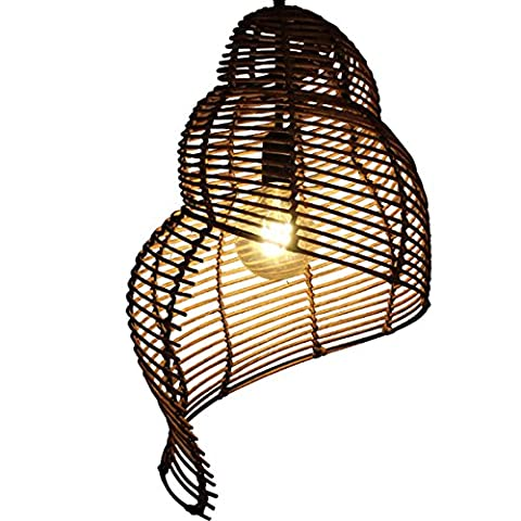 GRFH Rattan Bamboo Pendant Lamp Pays traditionnel Pure Fabrication artisanale artisanale Complete Conch Shape Shade Hanging In Bedroom Living Balcon Suspension Lights Three specifications , small 25cm*35cm