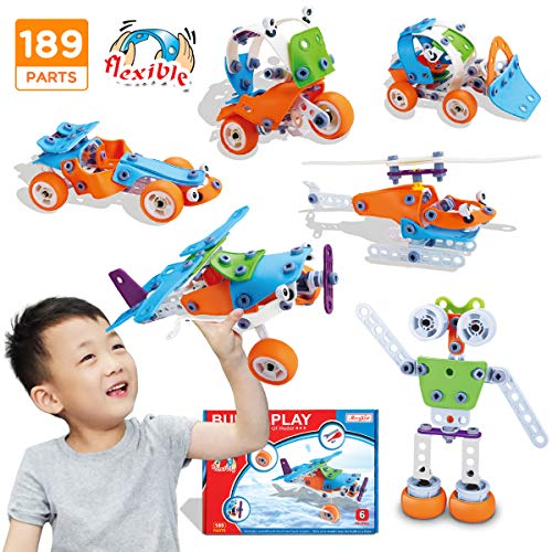 STEM Toys, 189Pcs Creative STEM Learning Building Blocks Kit | Fun Educational Construction Engineering Toys for Boys Girls 4 5 6 7 8 9 10+ Years Old | Best Birthday for Kids