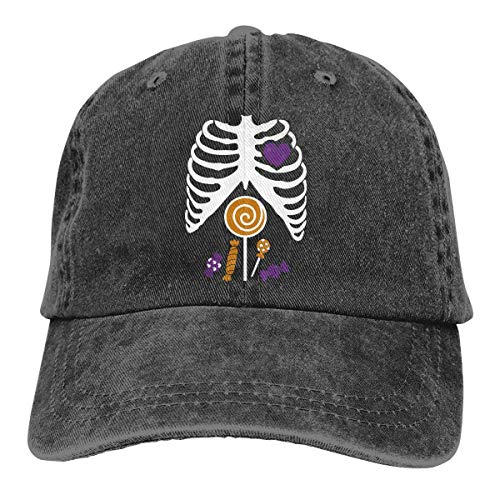 Baseball Caps für Herren/Damen,Golf-Kappen,Skeleton Candy Rib-cage X-Ray Halloween Funny Men's Women's Adjustable Jeans Baseball Hat Denim Fabric Sun Hat Sports Cool Youth Golf Ball Unisex Cowboy hat