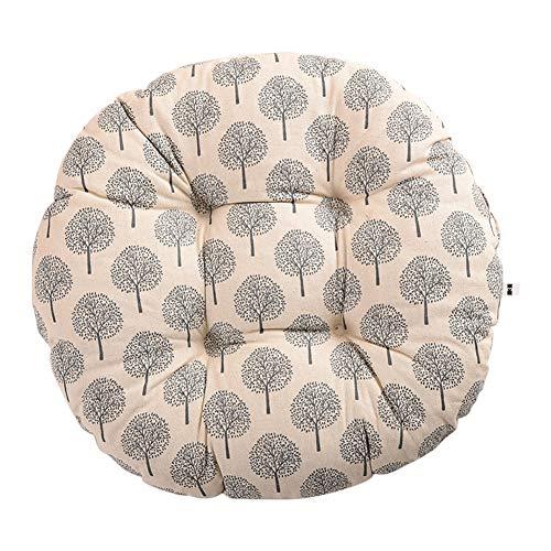 Milnut Sitzkissen Runde Stuhlkissen Leinen Stuhlauflage Komfort Baumwolle Sitzkissen für Bürostuhl Esszimmerstuhl Gartenstuhl, 50x50x11cm, Grau