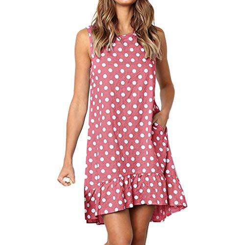 kolila Damen Mini Dress Summer Sale Womens Lässige Polka Dot Print Tasche gekräuselten ärmelloses Kleid Bluse Tops(Rosa,L)
