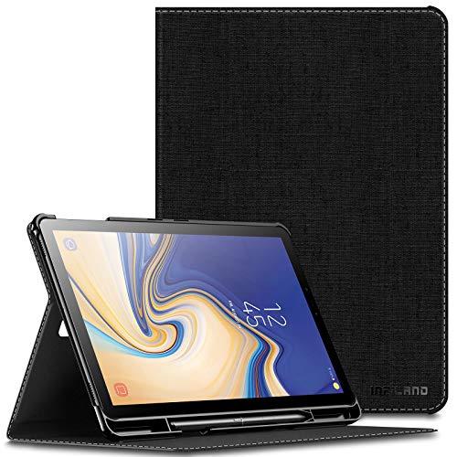 Infiland Supporto Frontale Custodia per Samsung Galaxy Tab S4 10.5 Pollice(SM-T830 Wi-Fi/SM-T835 LTE) 2018 Tablet (Auto Sonno/Veglia, con Protettivo Portapenne),Nero
