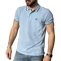 CONSENSO Polo Uomo T-Shirt Mezza Manica TG. M, L, XL, XXL, XXXL - Colori Assortiti (L, Celeste)