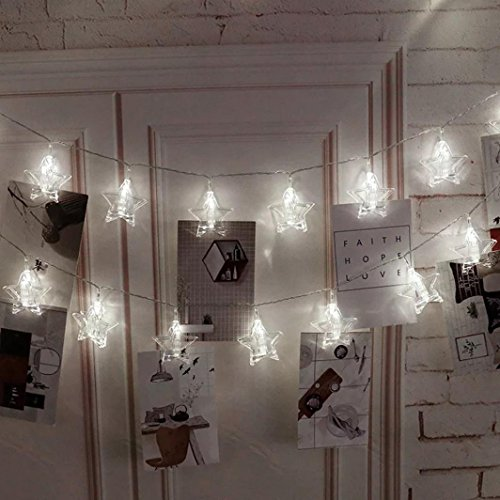 Kingko ® Light transmission, 10psLED five-pointed star light with photo clip, battery-powered art deco string clip, Christmas party decoration string lights (White)