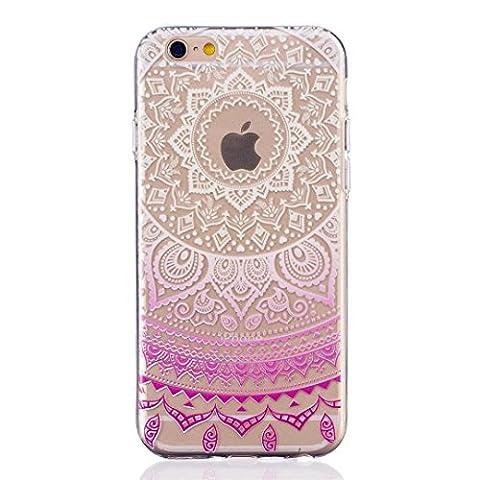 MUTOUREN Coque iPhone 6 Plus/6S Plus, Case Doux Flexible TPU Protecteur Housse Classique Mandala Modèle Bumper pour iPhone 6 Plus/6S Plus Svelte Silicone Case - Mandala Light
