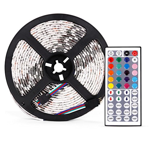 LED Light Strip - Kingwo 5-Meter flessibile impermeabile Cambiare colore RGB LED colorati luci di striscia Kit Rope Lights Kit striscia luminosa a LED per interni ed esterni decorazione (300 LED, 44 chiave, 60w)