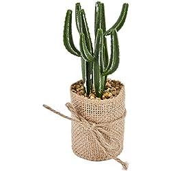 Cactus Decorativo Planta Plástico Pot yute verde 15x 5x 5cm Flores Artificiales