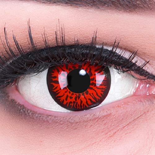 Red Kostüm Twilight Kontaktlinsen - Meralens, weiche 12 Monatslinsen, Red Demon, ohne Stärke, mit Behälter, 1 Paar (1 x 2 Stück)