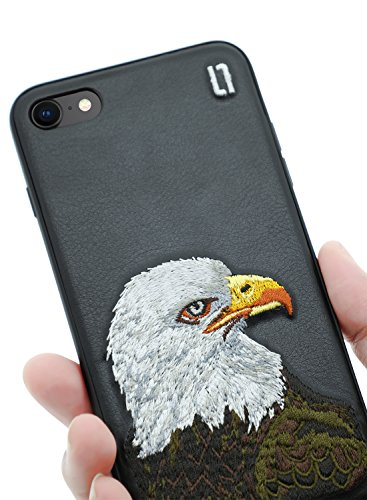 Gestickte Adler (ULAK iPhone 8 Hülle, iPhone 7 Handy Hülle Gestickt Stickerei 3D Retro Design Schöne Muster Stoßfest Schale Hart Schutzhülle Weich Silikon Kante Bumper für Apple iPhone 8/7 (4.7 Zoll), Adler)