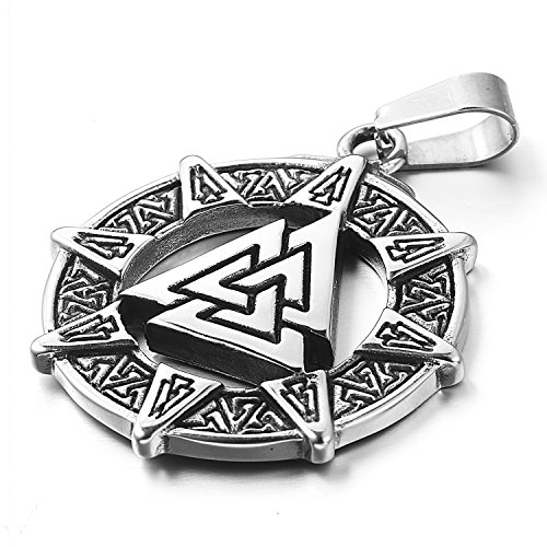 mendino Herren Edelstahl Anh?nger Viking Valknut-scandinavn Isl?ndische Odin Symbol nordischen Silber Ton Farbe mit 55,9?cm Link Kette