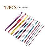 12pcs 2-8mm Multicolor de aluminio de ganchillo Gancho de tejer conjunto de agujas