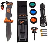 LiteXpress Gerber Set, Gerber Bear Grylls Messer Ultimate GE31-000751 und LiteXpress X-Tactical 104 LED-Taschenlampe bis zu 190 lm LXL447001B SET-KOMBI64