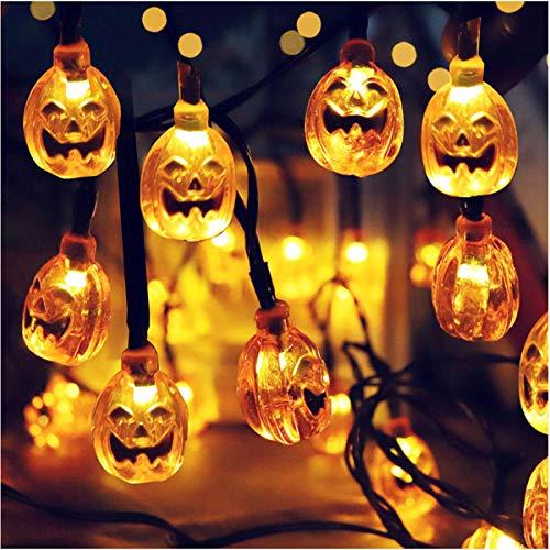 Ruitx Kürbis Saiten Leuchten, Halloween-Solar Betriebene Kürbis Laterne, 19,6 Ft 30 LEDs, DIY-Home-Party, Outdoor-Halloween-Party-Urlaub Dekoration Lichter.