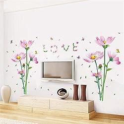 Hermosas flores de margarita amor pared hogar pegatinas decorativas dormitorio de boda arte mural papel tapiz 3d volver
