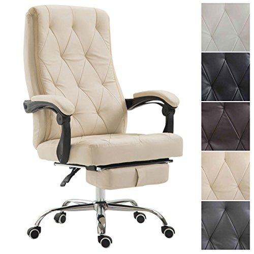 CLP Bürostuhl Gear mit Kunstlederbezug, Chefsessel mit Fußstütze, max. belastbar bis 136 kg, höhenverstellbar, ergonomisch Creme