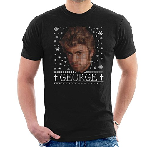 George Michael Cross Earring Christmas Knit Pattern Men's T-Shirt