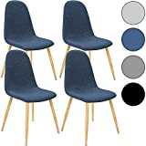 4x Deuba® Design Stuhl Esszimmerstühle Küchenstuhl ✔50cm Sitzhöhe ✔ergonomisch geformte Sitzschale ✔120kg Belastbarkeit ✔Stuhlbeine mit Naturholzoptik ✔dunkelblau【Farbauswahl】