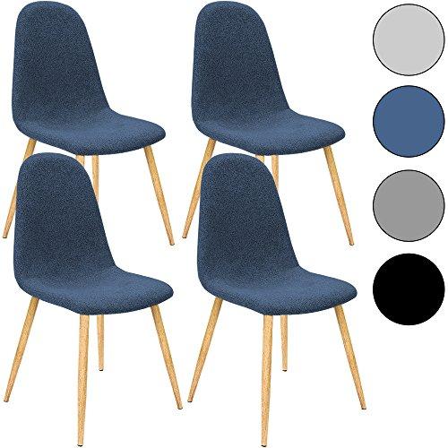 4x Design Stuhl mit Stoffbezug dunkelblau - Esszimmerstühle Stühle Designerstuhl Küchenstühle Wohnzimmerstuhl Esszimmerstuhl Polsterstuhl Stuhlgruppe Essgruppe Sitzgruppe Belastbarkeit 120kg 44x53x86cm