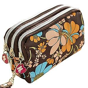 Sanwood® Women Wallet Purse Triple Zipper Clutch Phone Bag