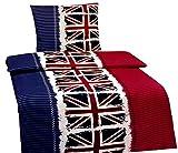 Leonado Vicenti 2 TLG. Bettwäsche 155 x 220 cm in blau/rot aus Microfaser England Flagge mit Reißverschluss