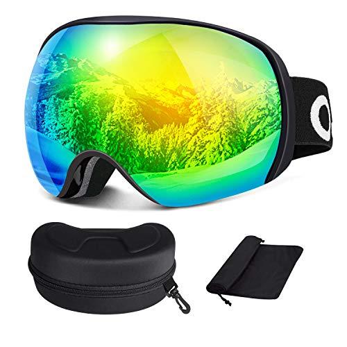 Oladwolf Skibrille Herren und Damen OTG Verspiegelt für Brillenträger, Doppel-Objektiv und Anti Fog 100% UV-Schutz Schneebrille, Helmkompatible Snowboardbrille für Mädchen und Jungen (Grün)