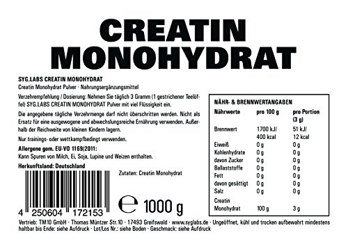 Syglabs Nutrition Creatin Monohydrat Pulver, 1er Pack (1 x 1 kg) - 4