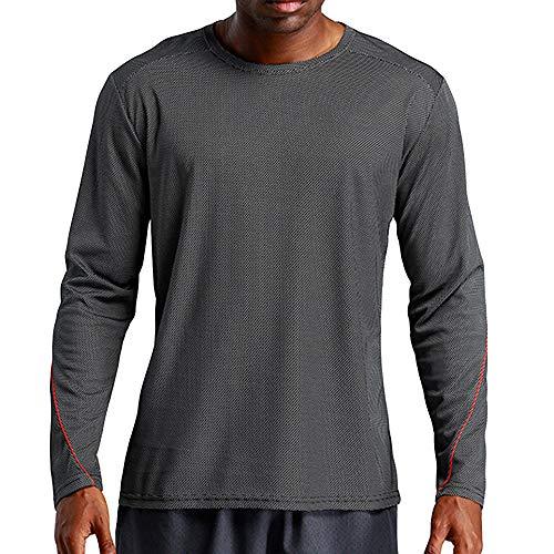 OSYARD Herren Sweatshirt,Sportbekleidung,Oberteile, Männer Sport Quick Dry Langarmshirt Lässige Atmungsaktiv Freizeit Bluse Tops Pulli T-Shirt Rundhals Sportlich Pullover(M, Schwarz)