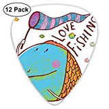 Celluloid Guitar Picks - 12 Pack,Abstract Art Colorful Designs,Cute Large Fat Fish Holding A Flag With Love Quote Humorous Fun Nursery Theme,For Bass Electric & Acoustic Guitars.