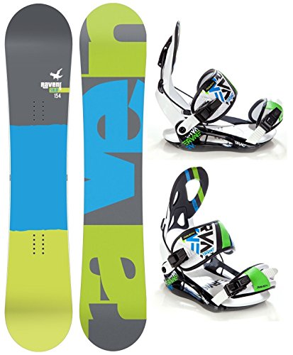 Snowboard Set: Snowboard Raven Solid Carbon + Bindung Raven s250 Black/White/Green/Blue XL