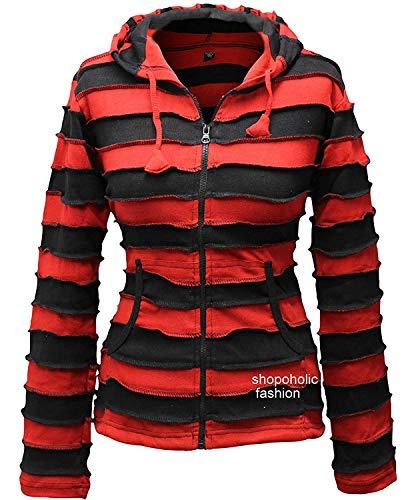 Shopoholic Mode Damen Streifen Pixie Kapuze Outwearlinie Kapuzenpulli, Mehrfarbig - Rot, 3XL -