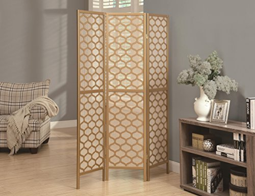 Monarch 3-Panel Frame Lantern Design Folding Screen, Gold by Monarch Folding Frame Screen