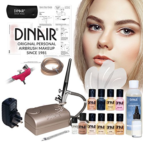 Dinair Personal Pro Airbrush make up Kit with Fair/Light makeup set Airbrush Makeup Kit | 8pc Foundation Set | New Digital Pro compressor | Pro Dinair CX Airbrush | Stencils | Cleaner | Full UK Warranty