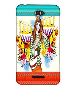 Fuson Nice Girl Back Case Cover for SONY XPERIA E4 - D4122