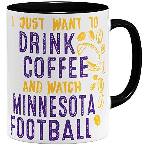 OM3® - Minnesota-Coffee - Tasse   Keramik Becher   American Football Mug   11oz 325ml   Beidseitig Bedruckt   Schwarz (Minnesota Geburtstag Vikings)
