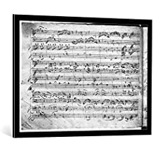 """Cuadro con marco: Wolfgang Amadeus Mozart """"Trio in G major for violin, harpsichord and violoncello (K 496) 1786 (2nd page)"""" - Impresión artística decorativa con marco de alta calidad, 100x70 cm, Negro / canto gris"""