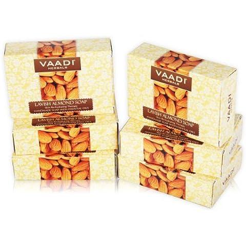 Almendra Jabón (Aceite de almendra Bar Jabón) con extractos de miel y Aloe Vera hecho a mano jabón de hierbas (Aromaterapia) con 100% Pure Essential Oils–Natural–Mejor Piel Natural Moisturizer–Cada 2,65gramos–6unidades (16onzas)–vaadi Herbals (Aceite de almendra Jabón)