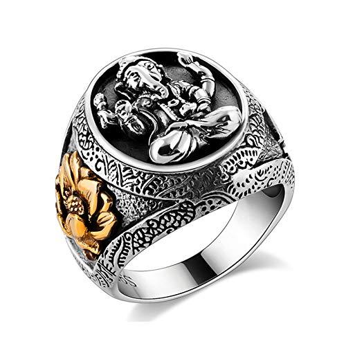 Kostüm Ganesh - Daesar Herren Ring Silber 925 Indischer Ganesh Elefant Lotusblume Partnerring Punk Ring Silber Große 54 (17.2)