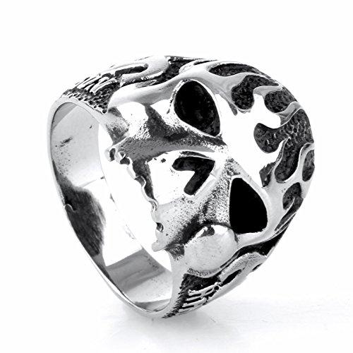 HIJONES Schmuck Herren Europäische Stil Edelstahl 316l Flamme Schädel Ringe Größe 68 (21.6) (Fünf-flammen-edelstahl)