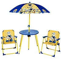 Despicable Me Minion Parasol Table And Chairs Outdoor Rush Garden Patio Children