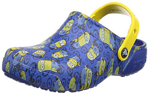 Crocs funlab minions graphic clog, zoccoli unisex-bambini, blu (blue jean), 30/31 eu