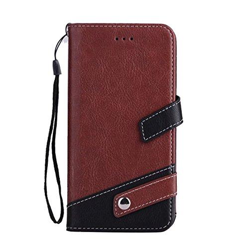 JIALUN-étui pour téléphone Case Cover Housse Flip Stand avec Lanyard & Card Slots pour iPhone 7 Plus ( Color : Gray ) Brown