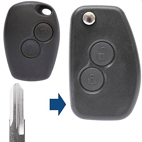 Pieghevole Portachiavi conversione di telecomando 2tasto vac102Vergine per Renault/DACIA/O