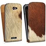 HTC One S Tasche Hülle Flip Case Kuhfell Look Tiere Animals