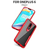 #7: KACOOL Bumper Case for Oneplus 6, PC + TPU Clear Hybrid Cell Phone Protective Back Cover, High Quality Anti-Scratch, Shock-Proof, Heavy Duty Mobile Phone Protector Back Cover for Oneplus 6 - Red